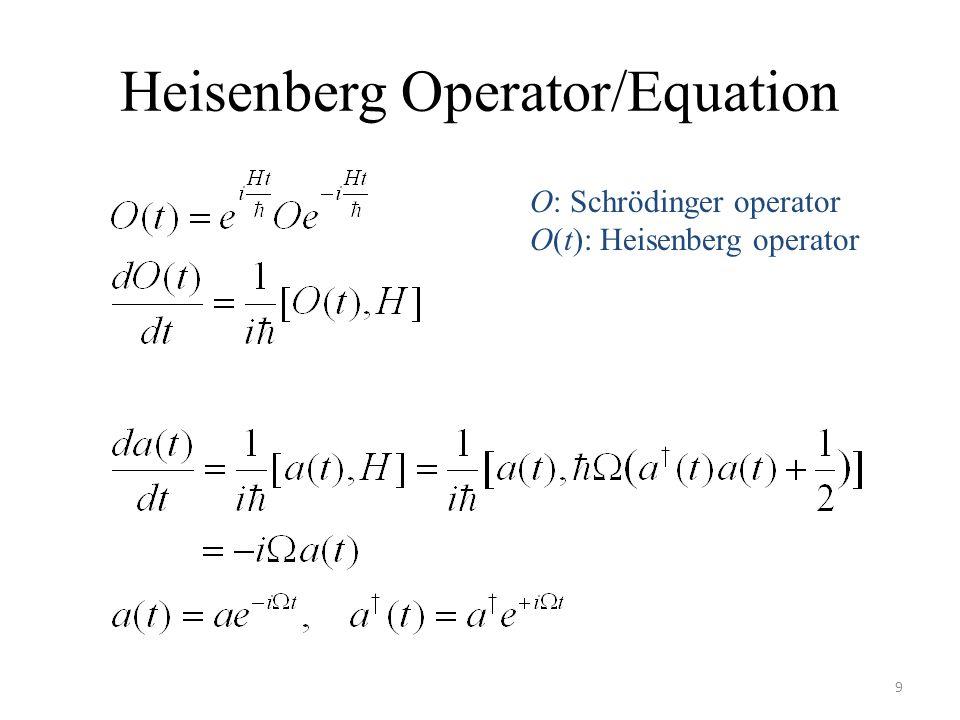Heisenberg Operator/Equation 9 O: Schrödinger operator O(t): Heisenberg operator