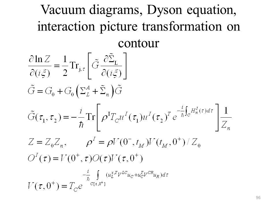 Vacuum diagrams, Dyson equation, interaction picture transformation on contour 96