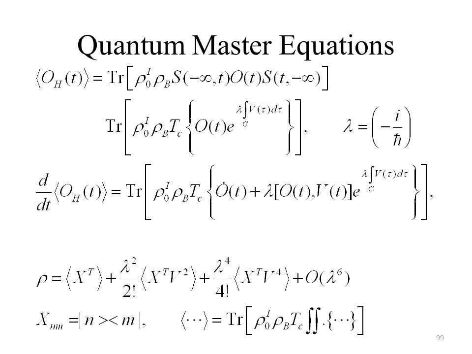 Quantum Master Equations 99