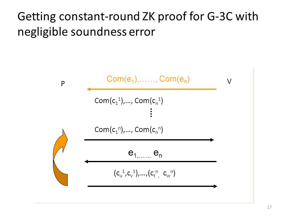 17 Getting constant-round ZK proof for G-3C with negligible soundness error Com(e 1 ),……, Com(e n ) e 1,…… e n P V Com(c 1 1 ),…, Com(c n 1 ) Com(c 1 n ),…, Com(c n n ) (c u 1,c v 1 ),…,(c t n, c w n )