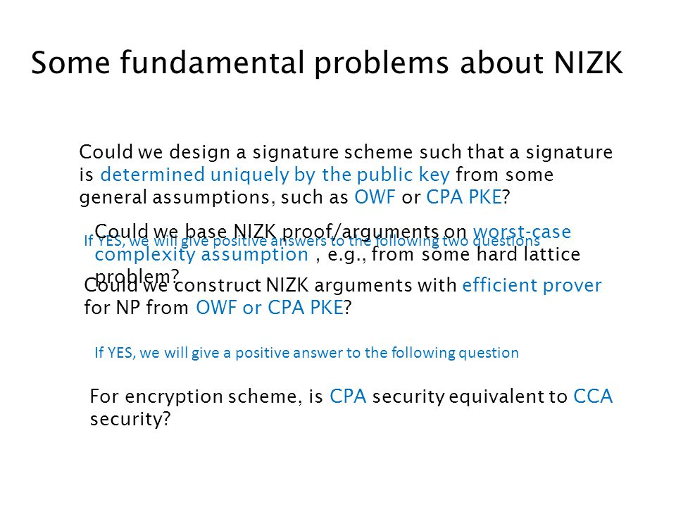 Some fundamental problems about NIZK Could we construct NIZK arguments with efficient prover for NP from OWF or CPA PKE.