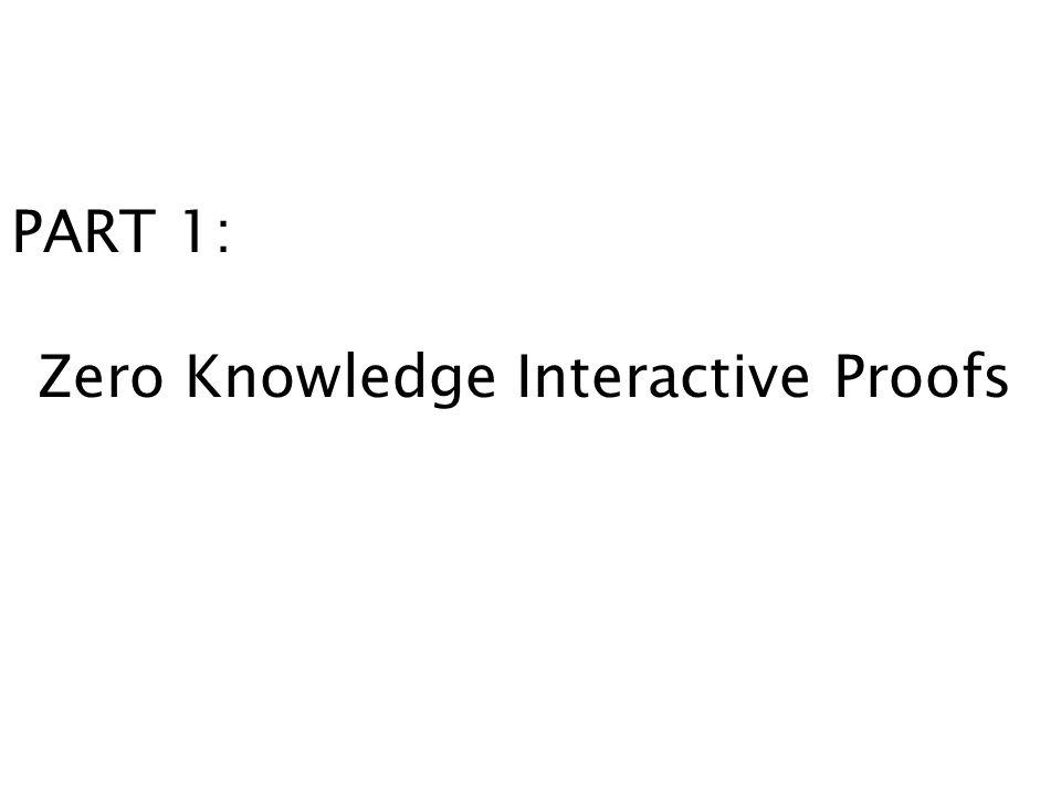 PART 1: Zero Knowledge Interactive Proofs