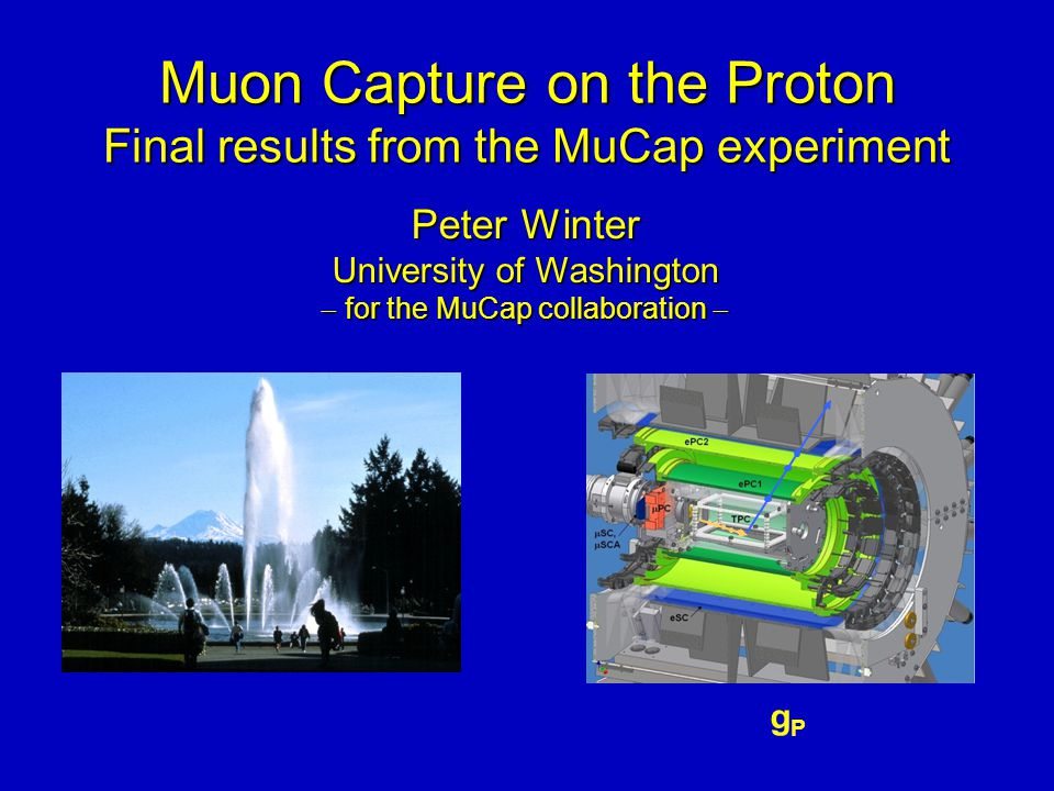 Muon Capture on the Proton Final results from the MuCap experiment Muon Capture on the Proton Final results from the MuCap experiment gPgP Peter Winte