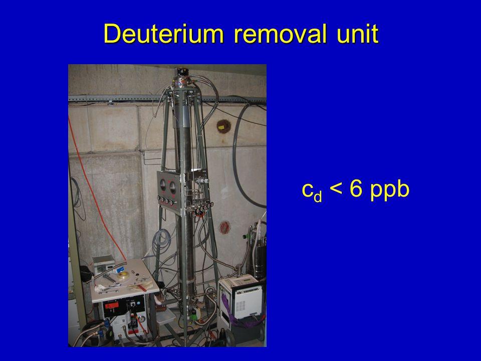 Deuterium removal unit c d < 6 ppb