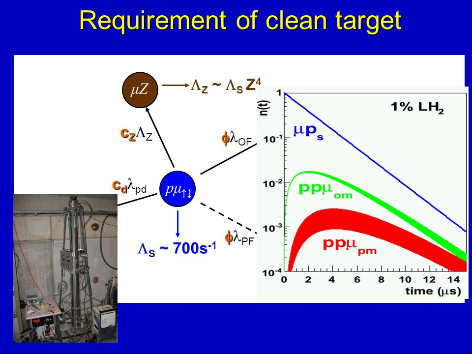 Requirement of clean target pμ ↑↓  S ~ 700s -1 OP ortho (J=1) ppμ   OF para (J=0) ppμ   PF  OM ~ ¾  S  PM ~ ¼  S μd c d c d pd μZ cZcZZcZcZ