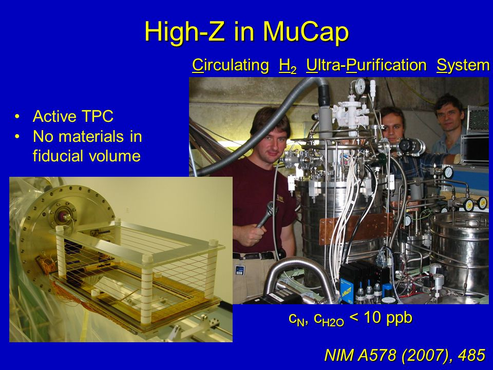 High-Z in MuCap c N, c H2O < 10 ppb Circulating H 2 Ultra-Purification System NIM A578 (2007), 485 Active TPC No materials in fiducial volume