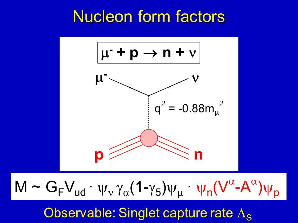 -- pn  - + p  n + M ~ G F V ud ·    (1-  5 )   ·  n (V  -A  )  p q 2 = -0.88m  2 Nucleon form factors Observable: Singlet capture rate  S