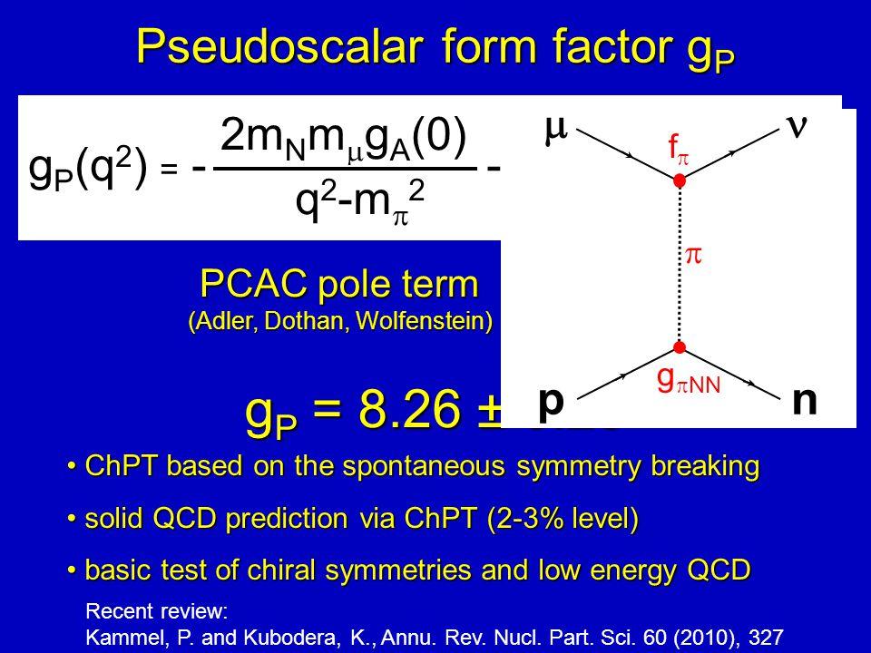 ChPT based on the spontaneous symmetry breakingChPT based on the spontaneous symmetry breaking solid QCD prediction via ChPT (2-3% level)solid QCD prediction via ChPT (2-3% level) basic test of chiral symmetries and low energy QCDbasic test of chiral symmetries and low energy QCD Pseudoscalar form factor g P g P (q 2 ) = - - g A (0)m N m  r A 2 2m N m ¹ g A (0) q 2 -m ¼ 2 1 3 g P (q 2 ) = - 2m N m  g A (0) q 2 -m  2 PCAC pole term (Adler, Dothan, Wolfenstein) NLO (ChPT) Bernard, Kaiser, Meissner PR D50, 6899 (1994) g P = 8.26 ± 0.23  pn  g  NN ff Recent review: Kammel, P.