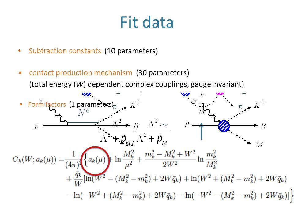 Fit data Subtraction constants (10 parameters) contact production mechanism (30 parameters) (total energy (W) dependent complex couplings, gauge invariant) Form factors (1 parameters)