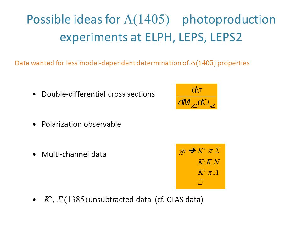 Possible ideas for  photoproduction experiments at ELPH, LEPS, LEPS2 Data wanted for less model-dependent determination of  properties Double-differential cross sections Polarization observable Multi-channel data  ,    unsubtracted data (cf.