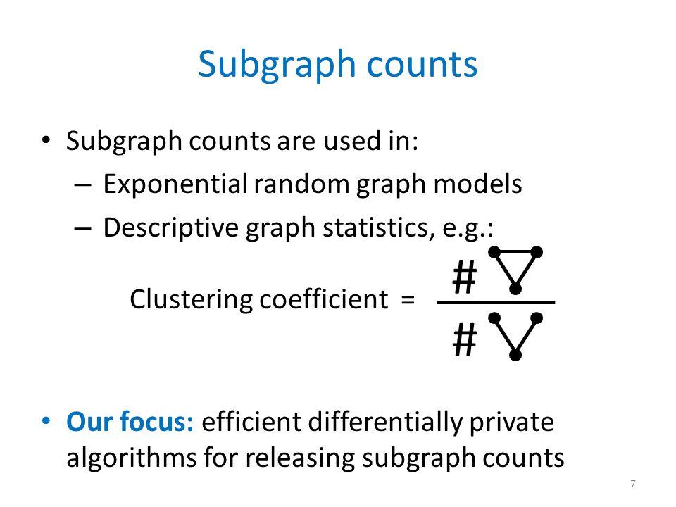 Previous work Smooth Sensitivity [Nissim, Raskhodnikova, Smith '07] – Differentially private algorithm for triangles – Open: private algorithms for other subgraphs.