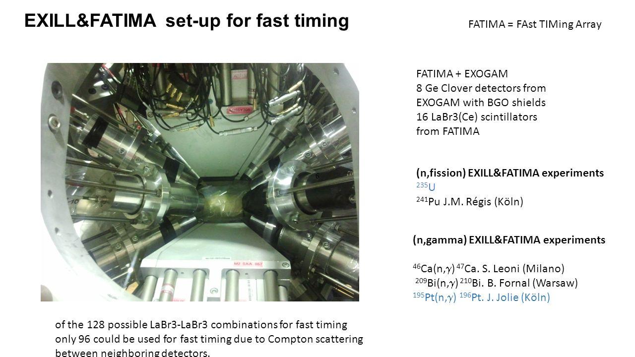 FATIMA + EXOGAM 8 Ge Clover detectors from EXOGAM with BGO shields 16 LaBr3(Ce) scintillators from FATIMA FATIMA = FAst TIMing Array EXILL&FATIMA set-