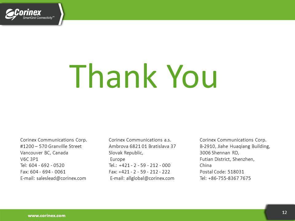 www.corinex.com 12 Thank You Corinex Communications Corp. #1200 – 570 Granville Street Vancouver BC, Canada V6C 3P1 Tel: 604 - 692 - 0520 Fax: 604 - 6