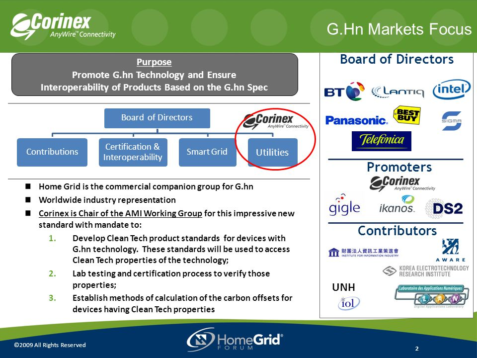 2 ©2009 All Rights Reserved 2 Home Grid is the commercial companion group for G.hn Worldwide industry representation Corinex is Chair of the AMI Working Group for this impressive new standard with mandate to: 1.Develop Clean Tech product standards for devices with G.hn technology.