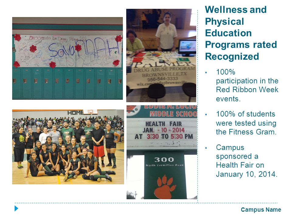 Wellness and Physical Education Programs rated Recognized 100% participation in the Red Ribbon Week events.