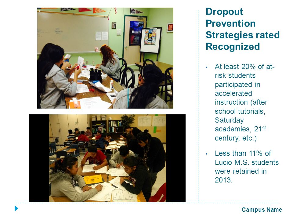 Dropout Prevention Strategies rated Recognized At least 20% of at- risk students participated in accelerated instruction (after school tutorials, Saturday academies, 21 st century, etc.) Less than 11% of Lucio M.S.