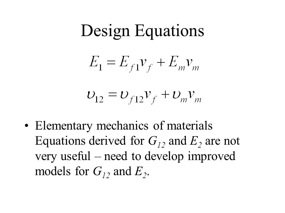 Design Equations Elementary mechanics of materials Equations derived for G 12 and E 2 are not very useful – need to develop improved models for G 12 a