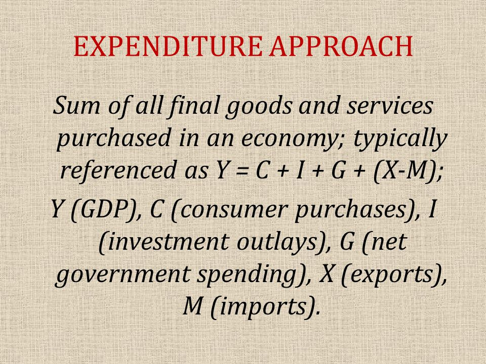 EXPENDITURE APPROACH Sum of all final goods and services purchased in an economy; typically referenced as Y = C + I + G + (X-M); Y (GDP), C (consumer purchases), I (investment outlays), G (net government spending), X (exports), M (imports).