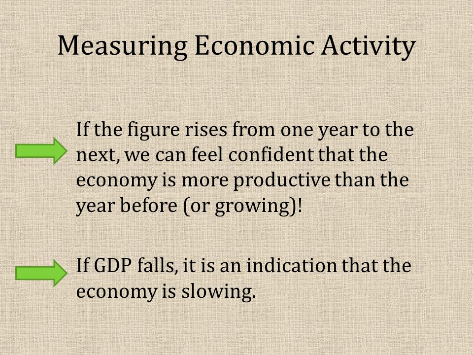 Measuring Economic Activity If the figure rises from one year to the next, we can feel confident that the economy is more productive than the year before (or growing).