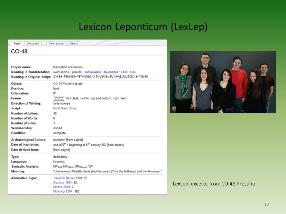 Lexicon Leponticum (LexLep) 10 LexLep: excerpt from CO·48 Prestino