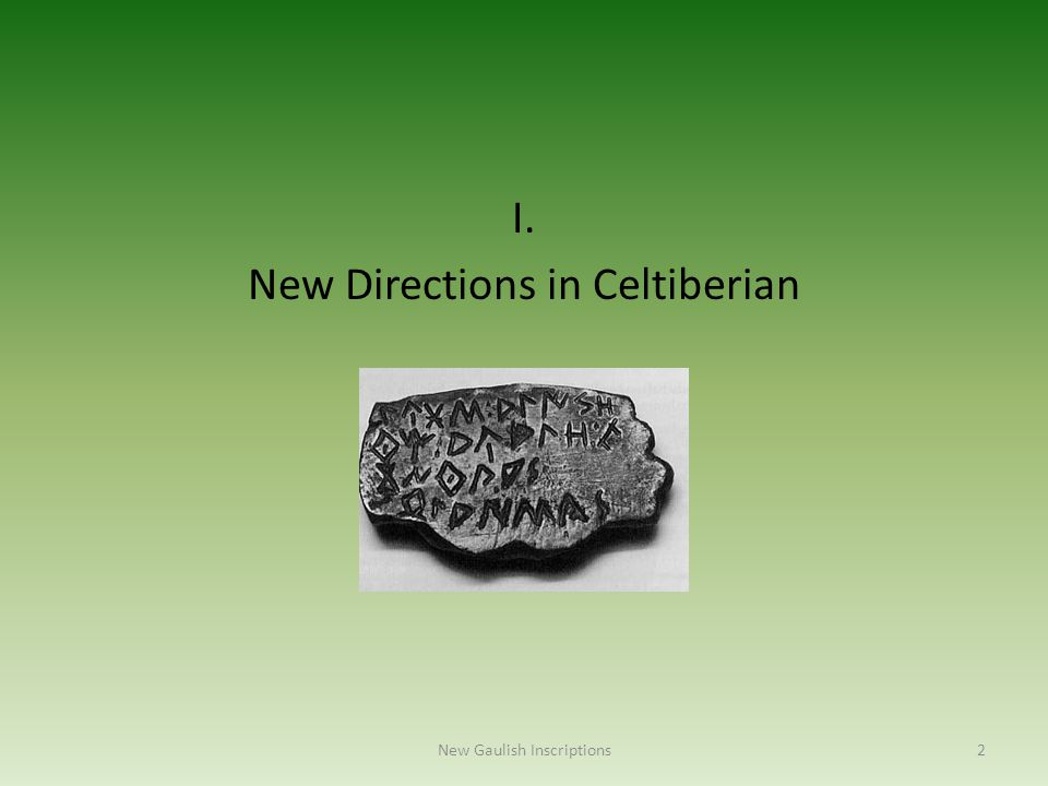 I. New Directions in Celtiberian New Gaulish Inscriptions2