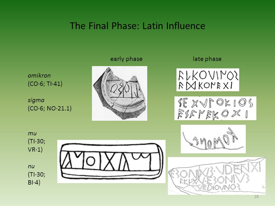 The Final Phase: Latin Influence 28 early phaselate phase omikron (CO·6; TI·41) sigma (CO·6; NO·21.1) mu (TI·30; VR·1) nu (TI·30; BI·4)