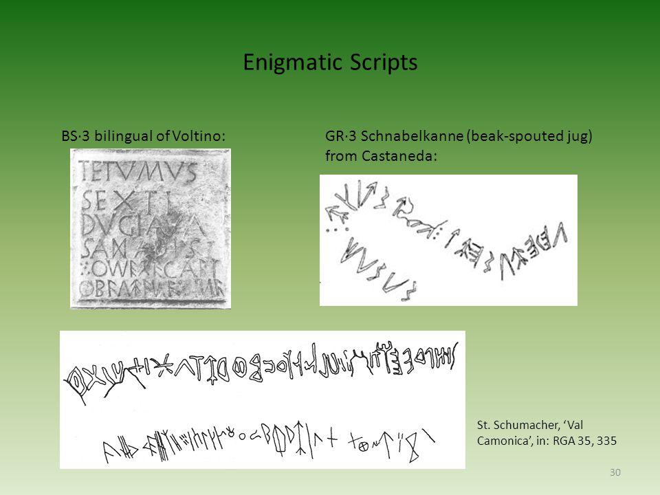Enigmatic Scripts 30 BS·3 bilingual of Voltino:GR·3 Schnabelkanne (beak-spouted jug) from Castaneda: Einfluss der camunischen Schrift.