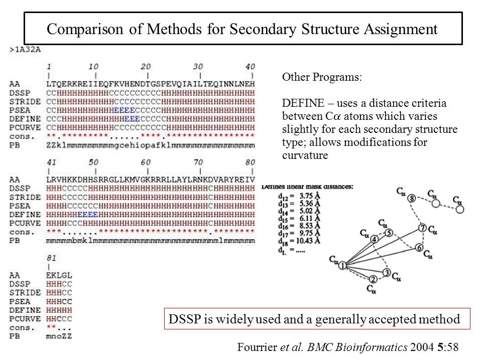 Comparison of Methods for Secondary Structure Assignment Fourrier et al. BMC Bioinformatics 2004 5:58 Other Programs: DEFINE – uses a distance criteri
