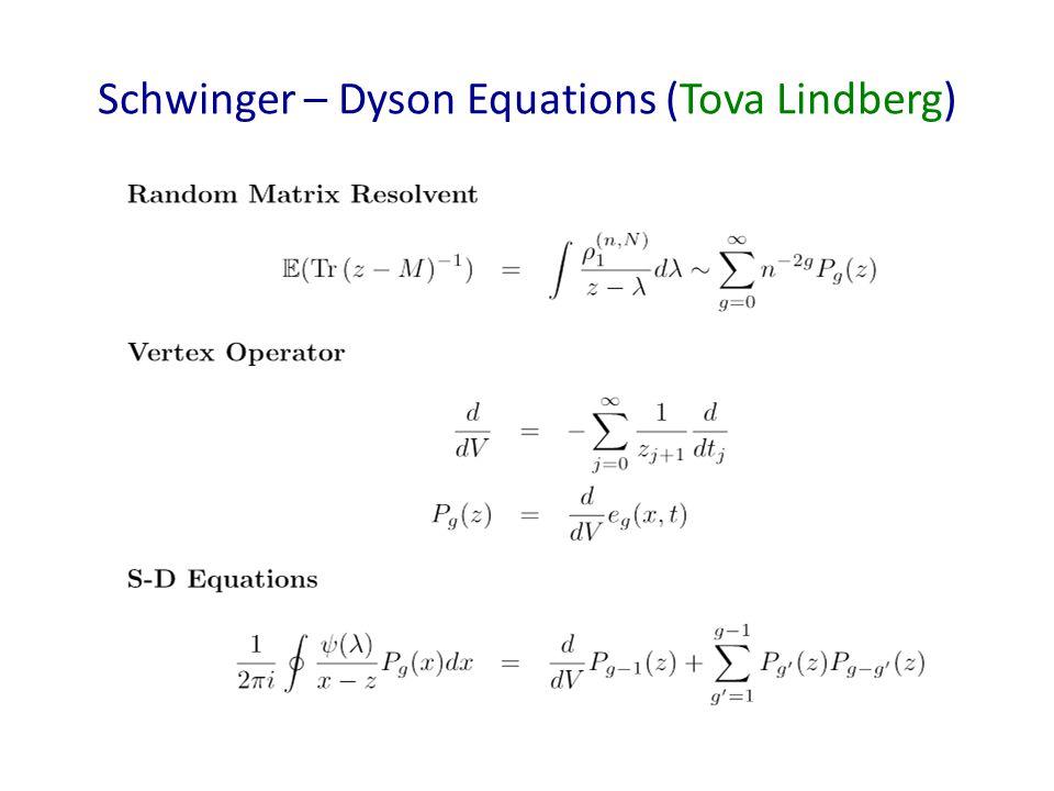 Schwinger – Dyson Equations (Tova Lindberg)