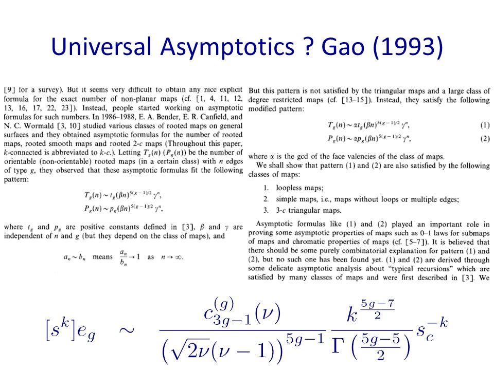 Universal Asymptotics ? Gao (1993)