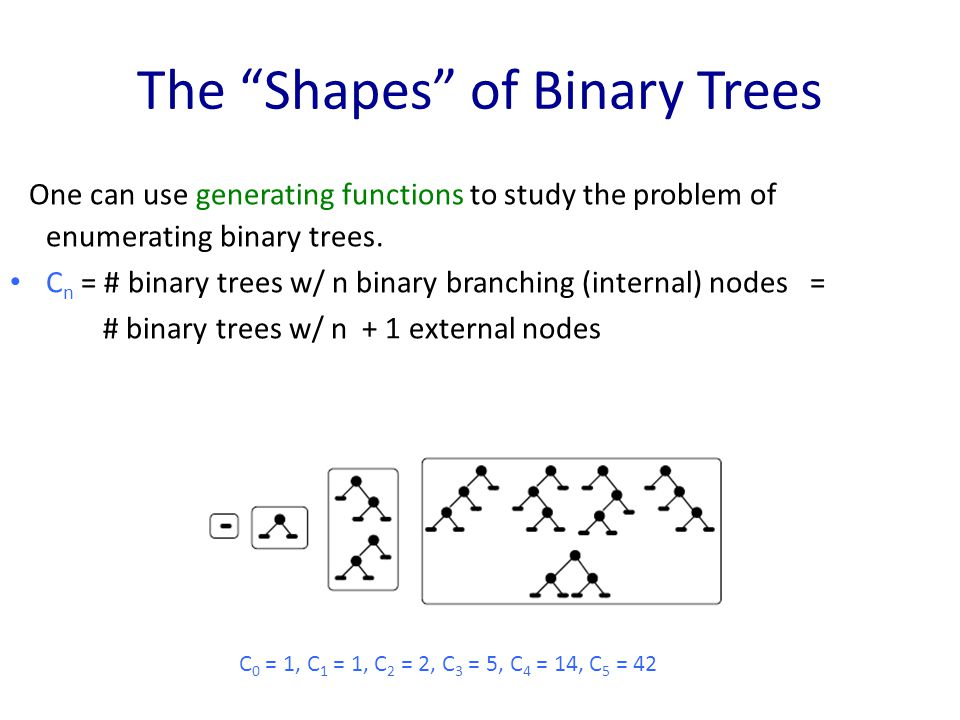 The Shapes of Binary Trees One can use generating functions to study the problem of enumerating binary trees.
