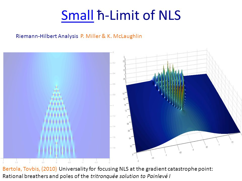 SmallSmall ħ-Limit of NLS Bertola, Tovbis, (2010) Universality for focusing NLS at the gradient catastrophe point: Rational breathers and poles of the tritronquée solution to Painlevé I Riemann-Hilbert Analysis P.