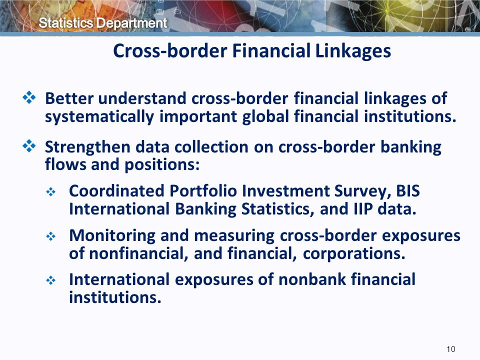 Cross-border Financial Linkages  Better understand cross-border financial linkages of systematically important global financial institutions.
