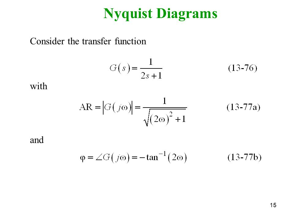 15 Nyquist Diagrams Consider the transfer function with and