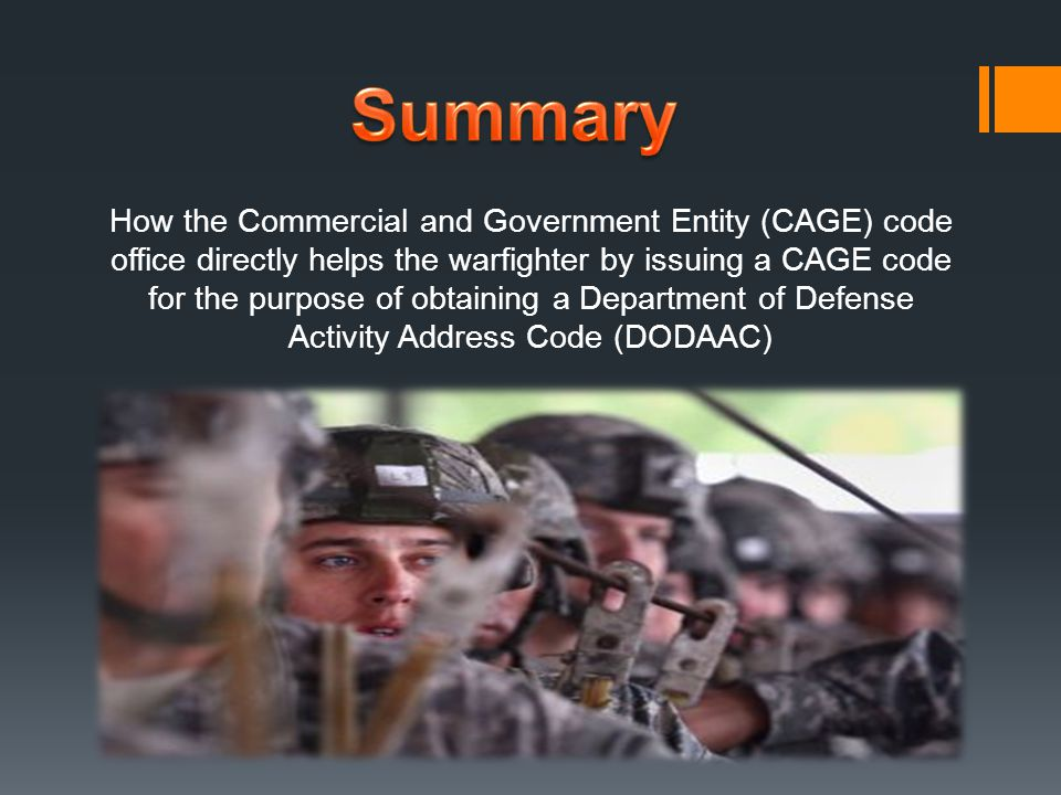 How the Commercial and Government Entity (CAGE) code office directly helps the warfighter by issuing a CAGE code for the purpose of obtaining a Department of Defense Activity Address Code (DODAAC)
