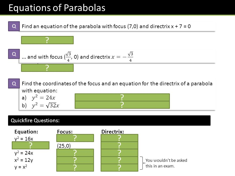 Equations of Parabolas Find an equation of the parabola with focus (7,0) and directrix x + 7 = 0 a = 7, so y 2 = 28x Q Q y 2 = √ 3 x Q Focus: (6, 0) Directrix: x = -6 Focus: ( √ 2, 0) Directrix: x = - √ 2 .