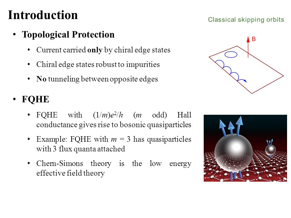 Introduction Topological Protection Current carried only by chiral edge states Chiral edge states robust to impurities No tunneling between opposite e