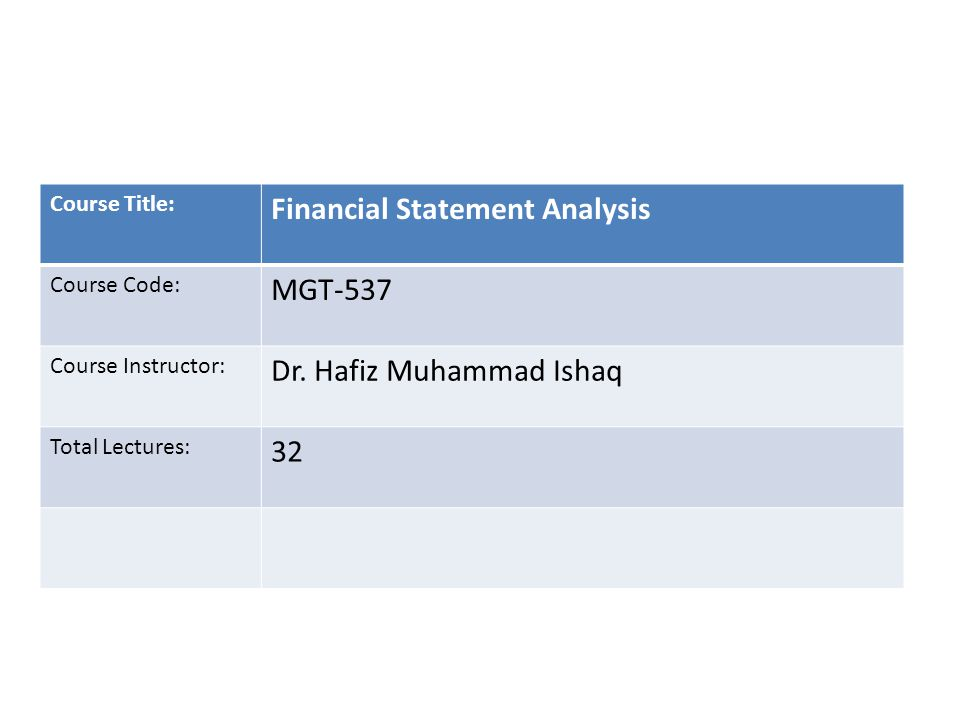 Course Title: Financial Statement Analysis Course Code: MGT-537 Course Instructor: Dr. Hafiz Muhammad Ishaq Total Lectures: 32