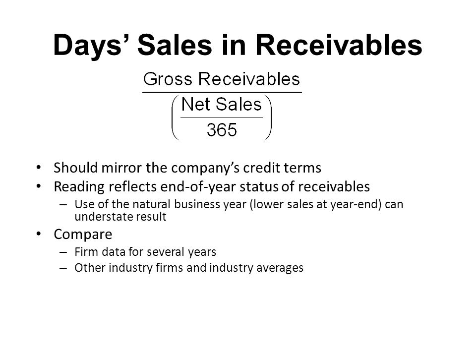 Days' Sales in Receivables Should mirror the company's credit terms Reading reflects end-of-year status of receivables – Use of the natural business y