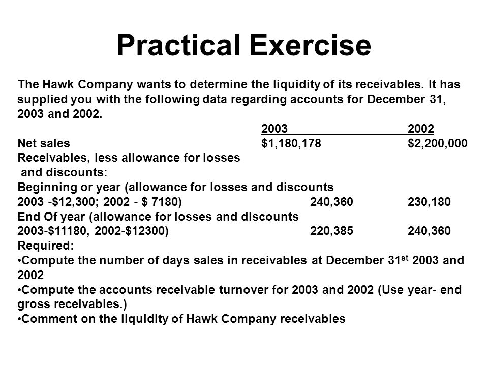 Practical Exercise The Hawk Company wants to determine the liquidity of its receivables. It has supplied you with the following data regarding account