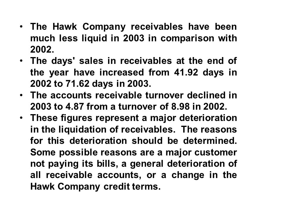 The Hawk Company receivables have been much less liquid in 2003 in comparison with 2002. The days' sales in receivables at the end of the year have in
