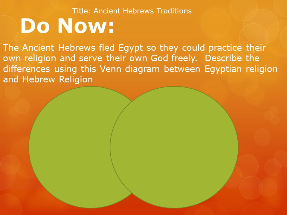 Do Now: Title: Ancient Hebrews Traditions The Ancient Hebrews fled Egypt so they could practice their own religion and serve their own God freely.