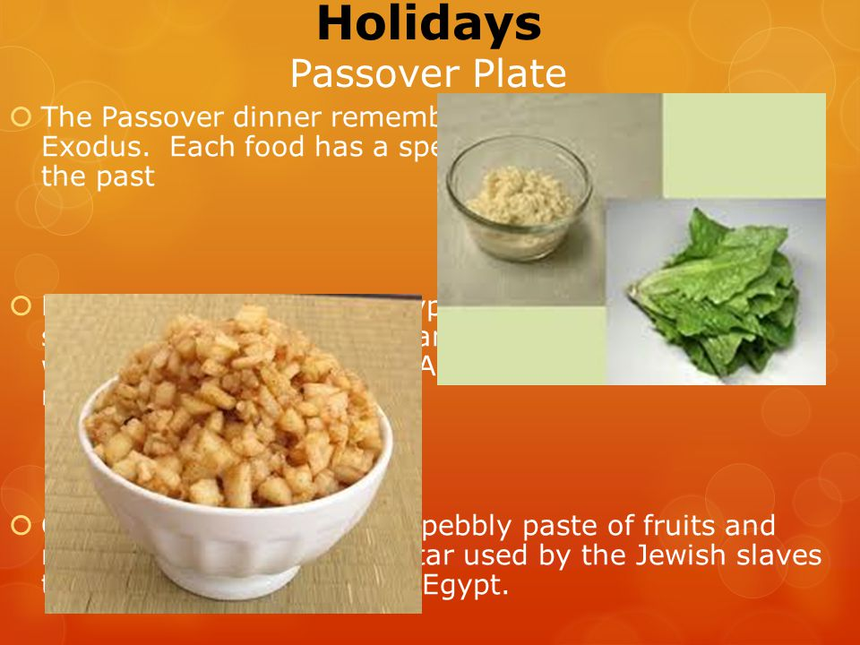 Holidays Passover Plate  The Passover dinner remembers many aspects of the Exodus.