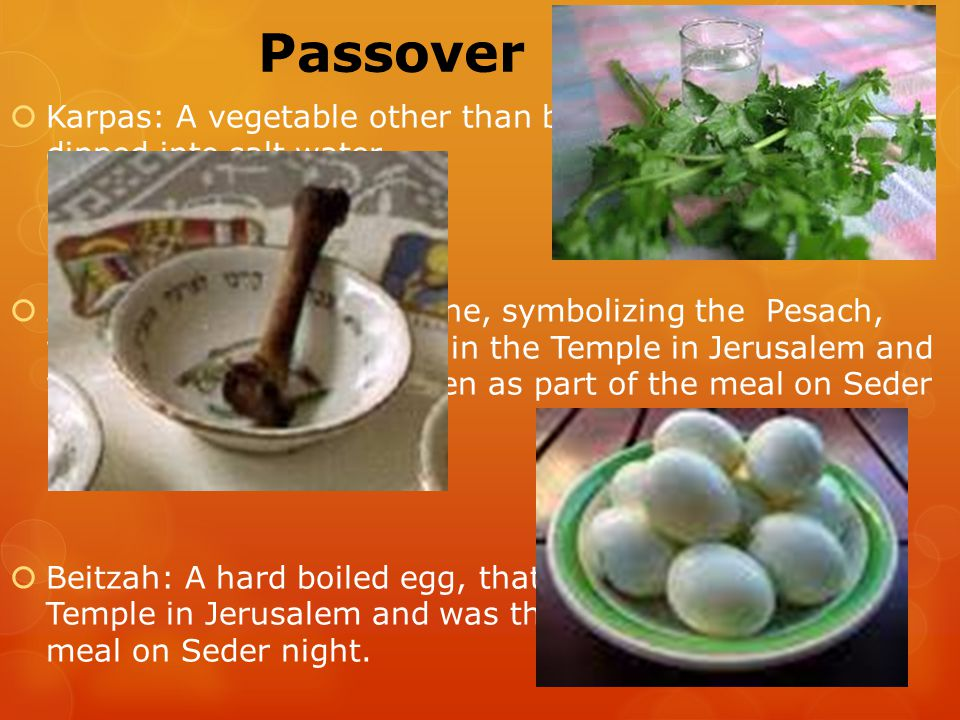 Passover Plate  Karpas: A vegetable other than bitter herbs, which is dipped into salt water  Zeroa: A roasted lamb bone, symbolizing the Pesach, which was a lamb offered in the Temple in Jerusalem and was then roasted and eaten as part of the meal on Seder night.