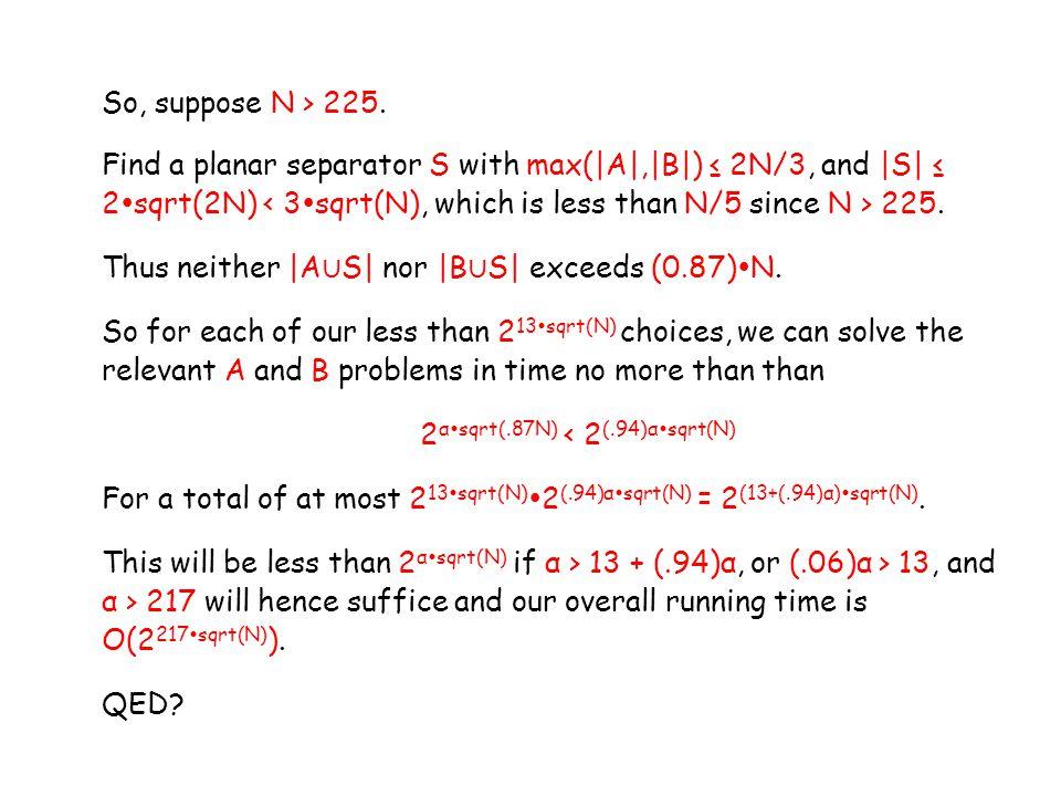 So, suppose N > 225.