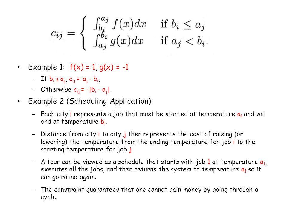 Example 1: f(x) = 1, g(x) = -1 – If b i ≤ a j, c ij = a j - b i, – Otherwise c ij = -|b i - a j |.