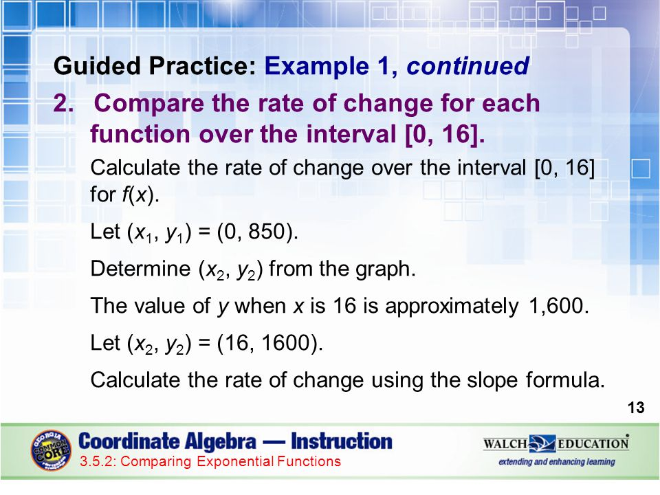 Guided Practice: Example 1, continued 2.Compare the rate of change for each function over the interval [0, 16].