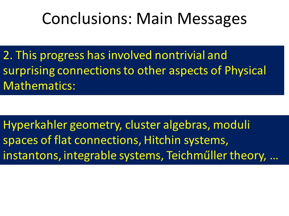 Conclusions: Main Messages 2.