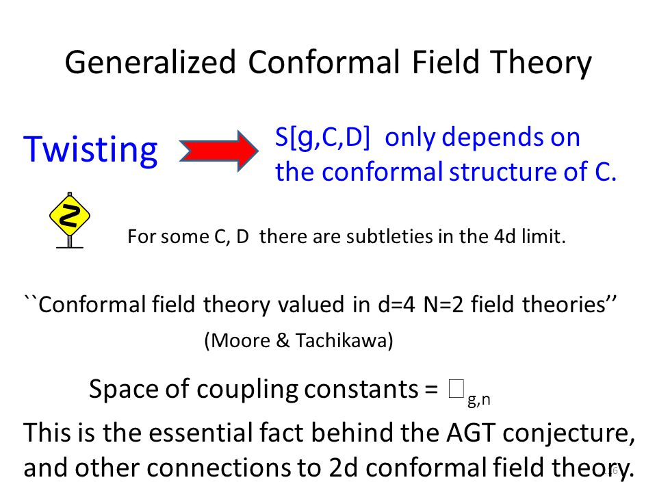 Generalized Conformal Field Theory ``Conformal field theory valued in d=4 N=2 field theories'' S[ g,C,D] only depends on the conformal structure of C.