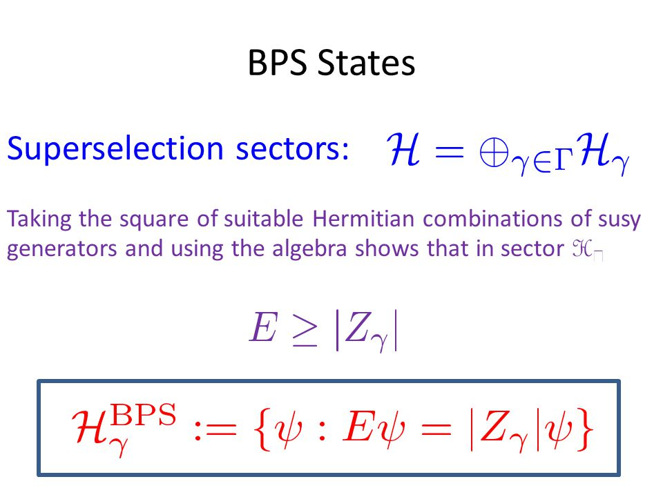 BPS States Superselection sectors: Taking the square of suitable Hermitian combinations of susy generators and using the algebra shows that in sector H 